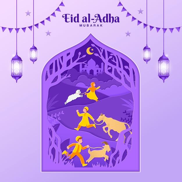 Иллюстрация поздравительной открытки ид аль-адха в стиле вырезки из бумаги с детьми приносить козу, овец и крупного рогатого скота для жертвоприношения. Premium векторы