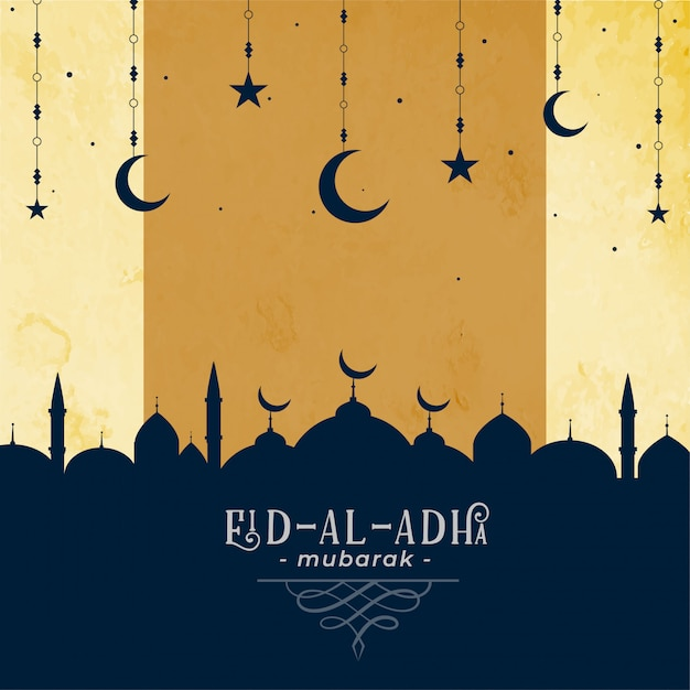 Eid al adha greeting with mosque and moon star Free Vector