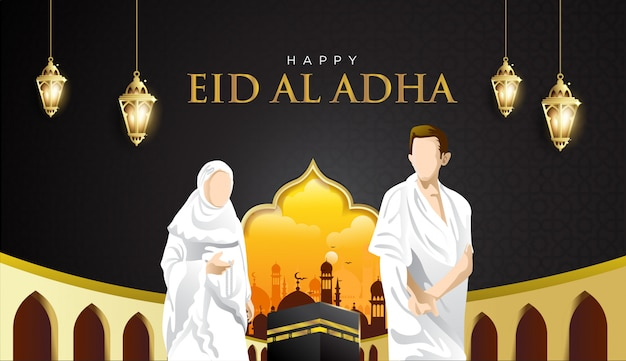Eid al adha and hajj mabrour background with kaaba, man and woman hajj character Premium Vector