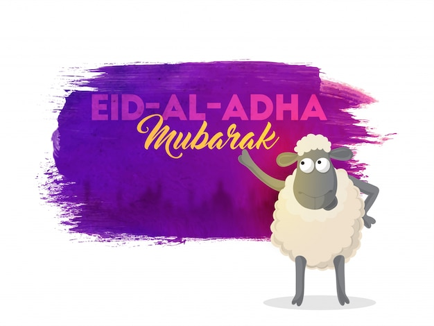 Eid-al-adha mubarak background with sheep. Free Vector