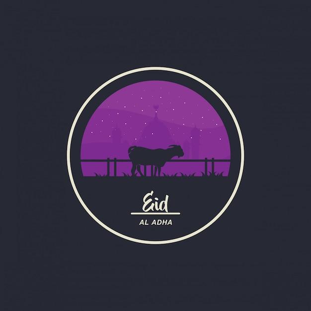 Ид аль-адха мубарак празднует дизайн в стиле козла и мечети в сопровождении звезд. иллюстрация Premium векторы