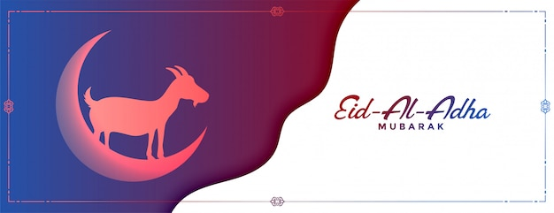 Eid al adha mubarak concept banner with goat and moon Free Vector