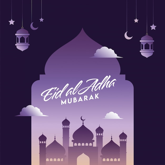 Premium Vector Eid Al Adha Mubarak Font With Mosque Hanging Crescent Moons Lanterns And Stars Decorated On Purple Background