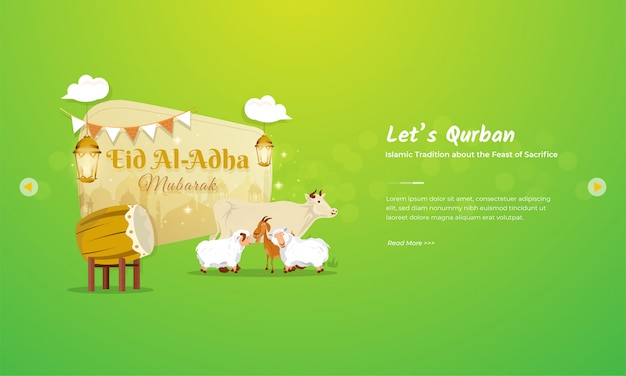 Eid al adha mubarak greeting concept with cattle, goat and sheep character Premium Vector