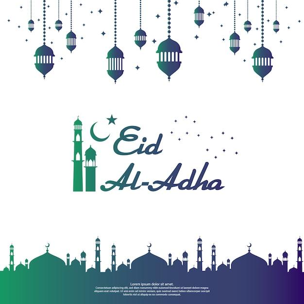 Eid al adha mubarak islamic greeting card design Premium Vector