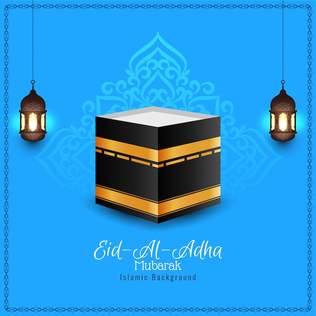 Eid-al-adha mubarak religious blue background Free Vector
