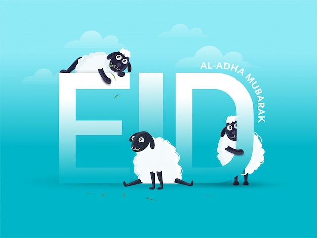 Eid-al-adha mubarak text with three cartoon funny sheep on sky blue background. Premium Vector
