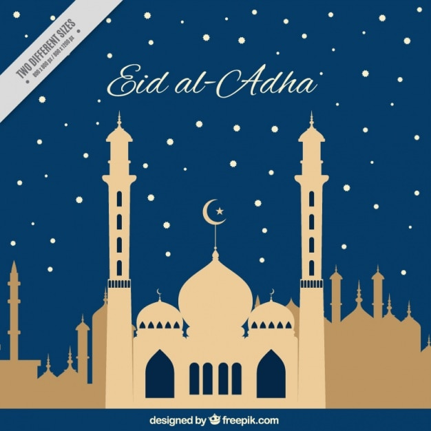 free vector eid al adha night background with mosque eid al adha night background with mosque