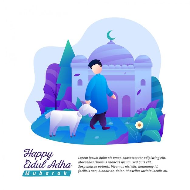 Eid al-adha's illustration of a man carrying a goat for sacrifice Premium Vector