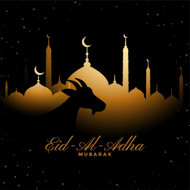 Eid al adha traditional golden festival background Free Vector