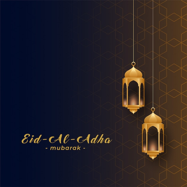 Eid al adha with golden hanging lamps Free Vector