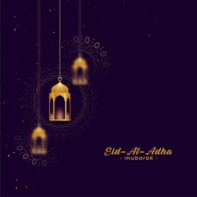Eid al asha greetings with golden lamps Free Vector