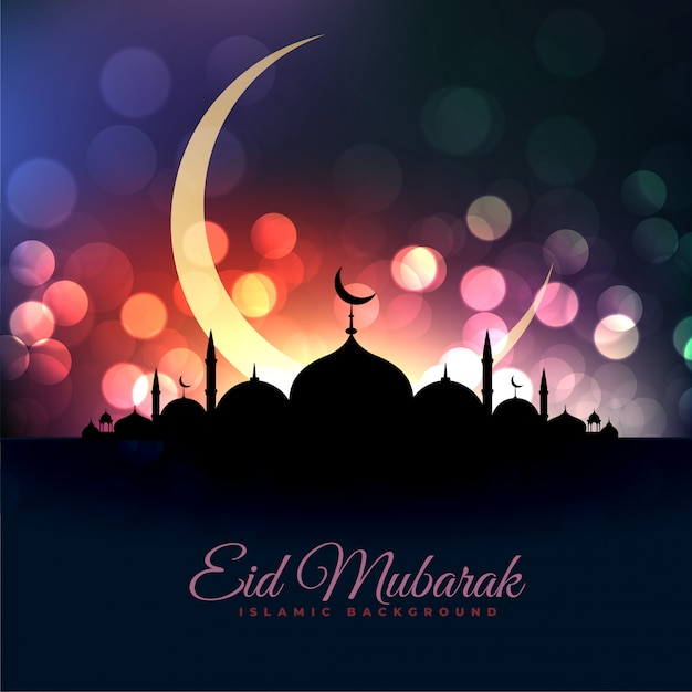Eid al fitar beautiful mosque and moon bokeh greeting Free Vector