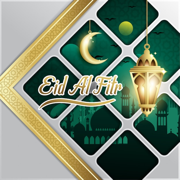 Eid al- fitr background with fanoos lantern & mosque Premium Vector