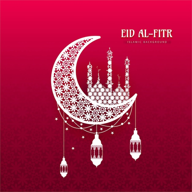 Eid al fitr background with ornamental moon Vector | Free Download