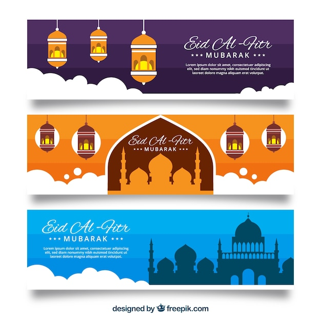 Eid Al-fitr Banners With Clouds Vector