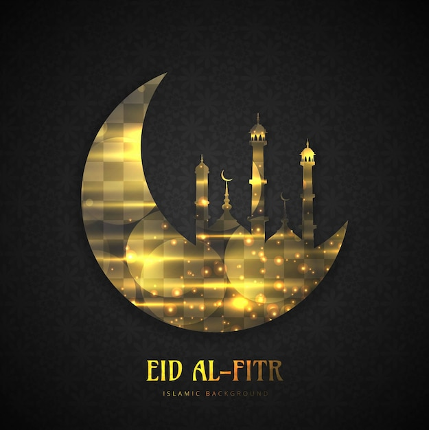 Download Modern Eid Al-Fitr Decorations - eid-al-fitr-golden-background-with-moon-and-mosque_1035-8106  Photograph_481381 .jpg
