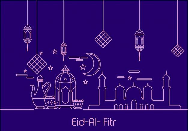 Wonderful Modern Eid Al-Fitr Decorations - eid-al-fitr-in-mono-line-style-ornament-background_17005-52  Pic_974476 .jpg