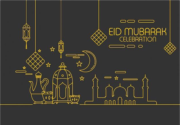 Best Modern Eid Al-Fitr Decorations - eid-al-fitr-in-mono-line-style-ornament-background_17005-53  Gallery_487496 .jpg