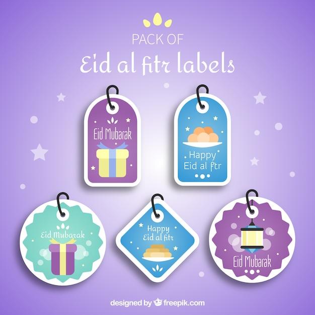 Eid Al Fitr Label Collection Free Vector On Freepik