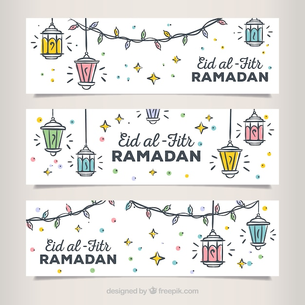 Набор ручных баннеров eid al fitr Бесплатные векторы