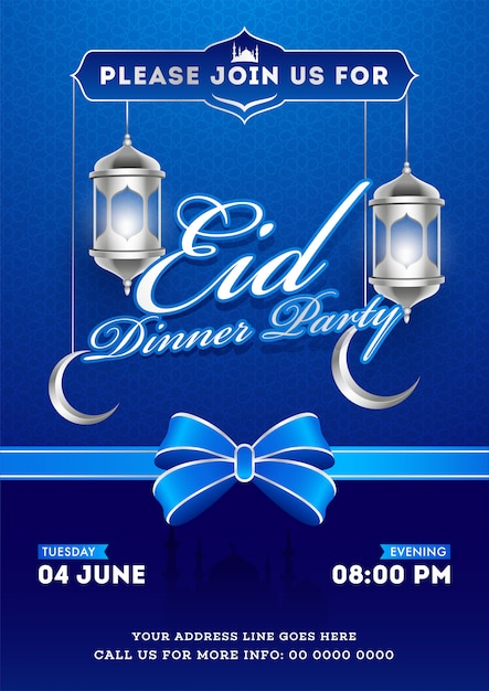 Eid dinner party invitation card design with silver illuminated Premium Vector