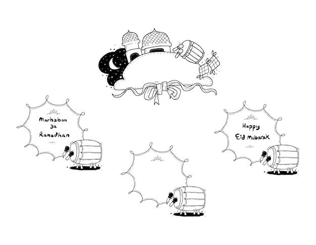 Счастливый eid doodle Premium векторы