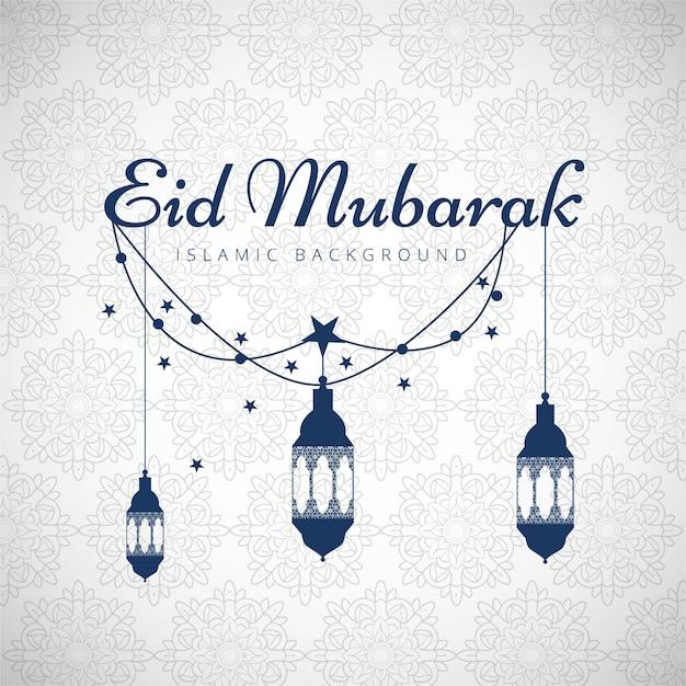 Eid mubarak background with blue lanterns