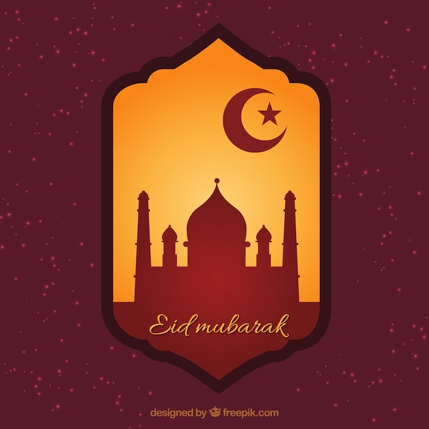 Eid mubarak badge Free Vector