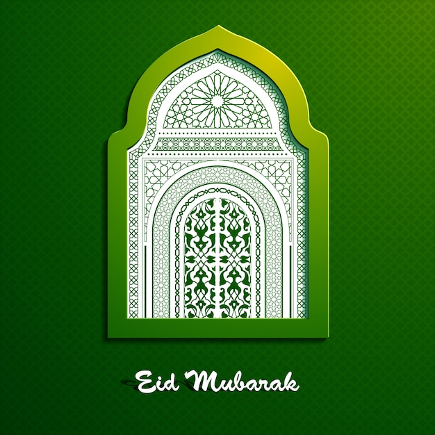 Eid mubarak beautiful greeting vector design with window mosque arabic pattern Premium Vector