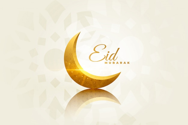 Eid mubarak beautiful greeting with decorative moon Free Vector