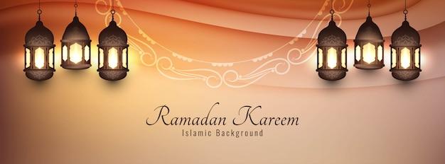 Eid mubarak decorative banner with lanterns Free Vector