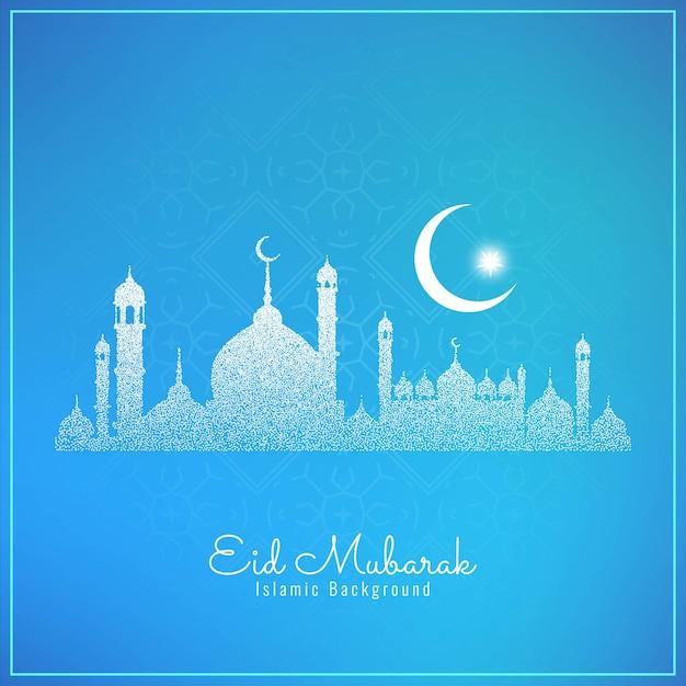 Ид мубарак фестиваль фон с пунктирной мечетью Бесплатные векторы