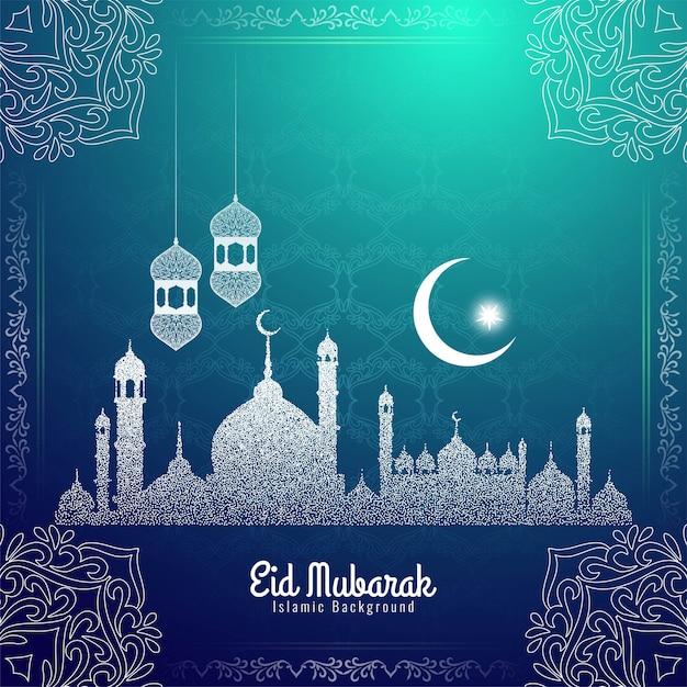 Eid mubarak festival decorative stylish Free Vector