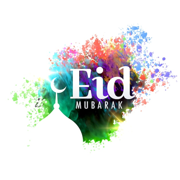 Eid mubarak festival greeting card design with watercolor effect eid mubarak festival greeting card design with watercolor effect free vector m4hsunfo