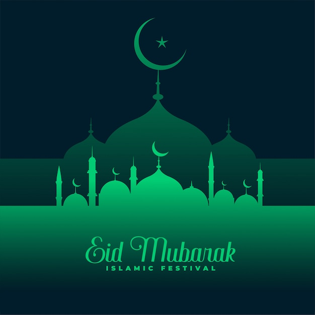 Eid Mubarak Green Mosque Design Vector