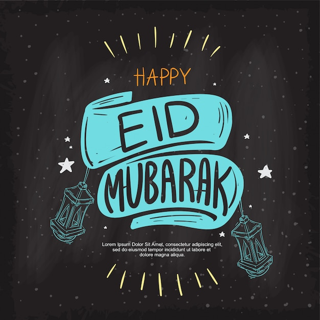 Premium Vector Eid Mubarak Greeting Beautiful Lettering Hand Drawing On The Chalk Board Background