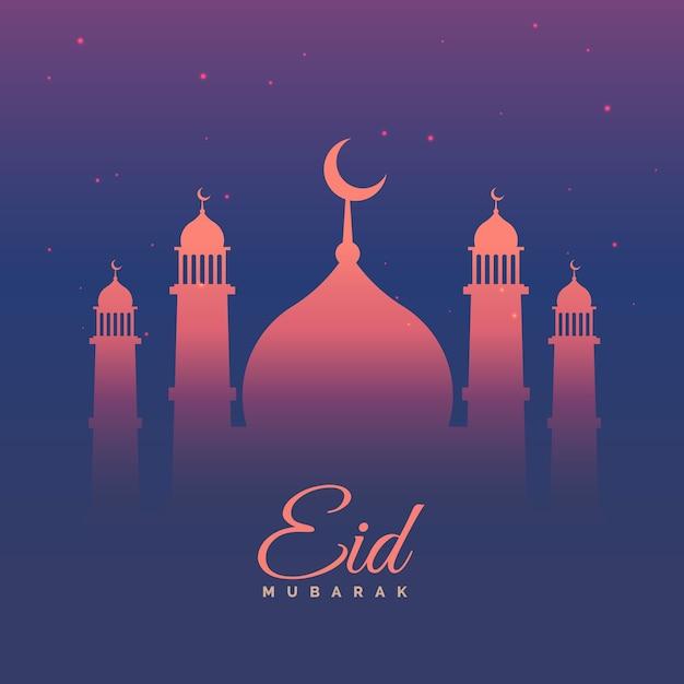 eid mubarak greeting card in purple theme vector free download