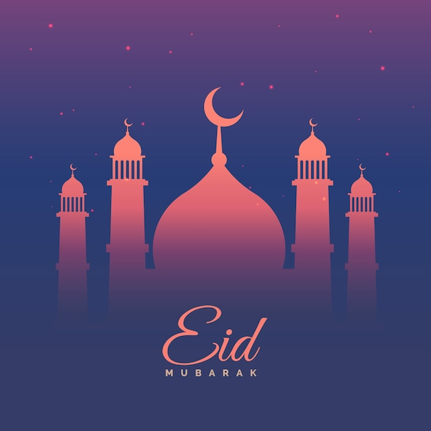 eid mubarak greeting card in purple theme  free vector