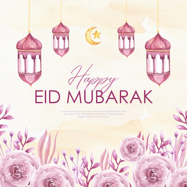 Premium Vector Eid Mubarak Greeting Card Watercolor With Lantern And Red Flowers
