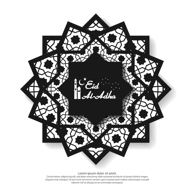 Eid mubarak greeting design with abstract mandala element Premium Vector
