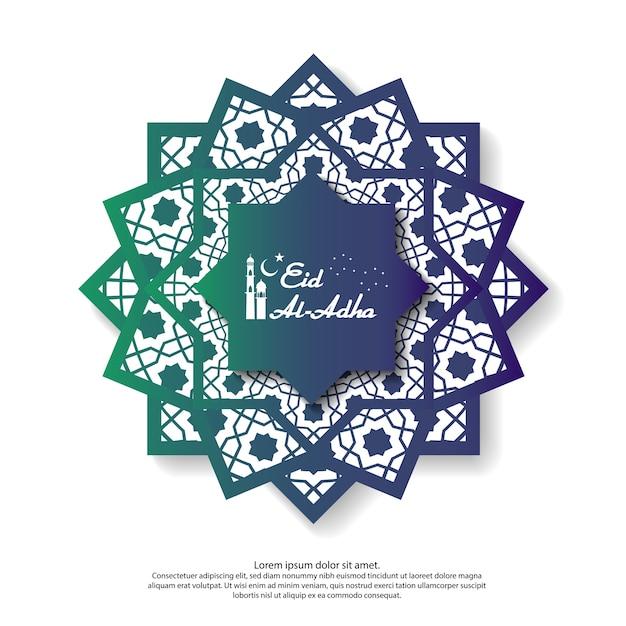 Eid mubarak greeting design with abstract mandala element Premium Vector