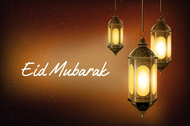 Eid mubarak greeting with hanging arabic lantern Premium Vector