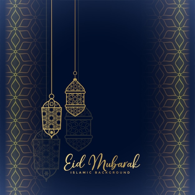 Eid mubarak greeting with hanging lanterns vector free download eid mubarak greeting with hanging lanterns free vector m4hsunfo