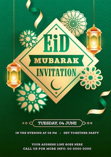 Eid Mubarak Invitation Card Design Decorated With Hanging