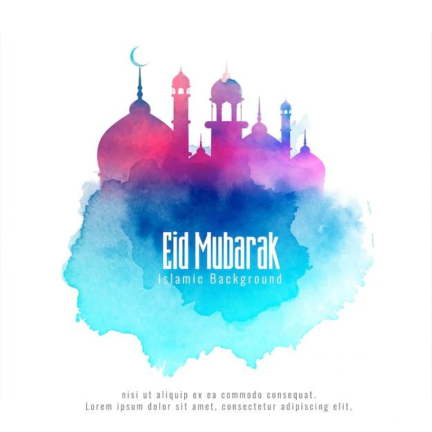 Ид мубарак исламский фон с красочной мечетью Бесплатные векторы