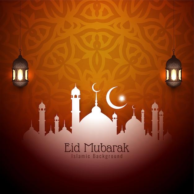 Ид мубарак исламский декоративный фон дизайн Бесплатные векторы