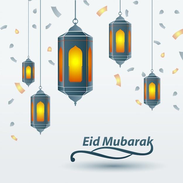 Eid mubarak islamic design traditional lantern Premium Vector