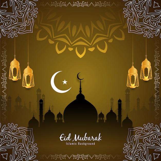 Ид мубарак исламский фестиваль красивый фон вектор Бесплатные векторы