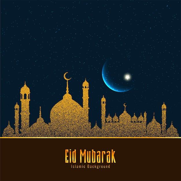 Eid mubarak islamic festival beautiful Free Vector